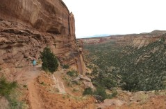 Hiking through the Wingate down into Monument Canyon.