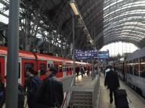 Frankfurt train station at rush hour.