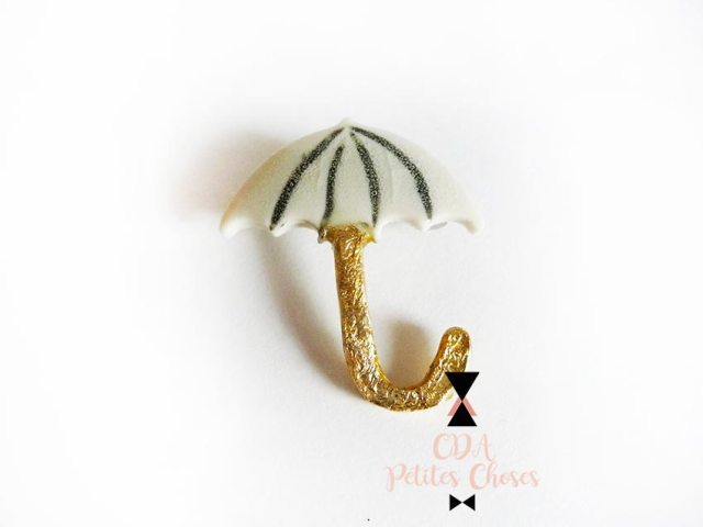 "Broche en porcelaine parapluie ""where is my umbrella"""