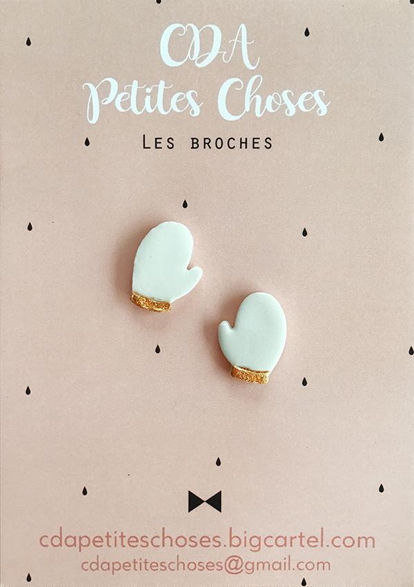 duo-broches-moufles en porcelaine CDA petites Choses