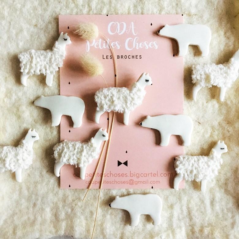 broches-lama-et-ours en porcelaine CDA Petites Choses
