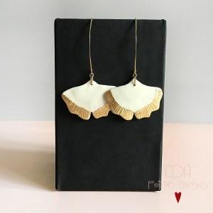 Boucles d'oreille Gingko en porcelaine et feuille d'or CDA Petites Choses