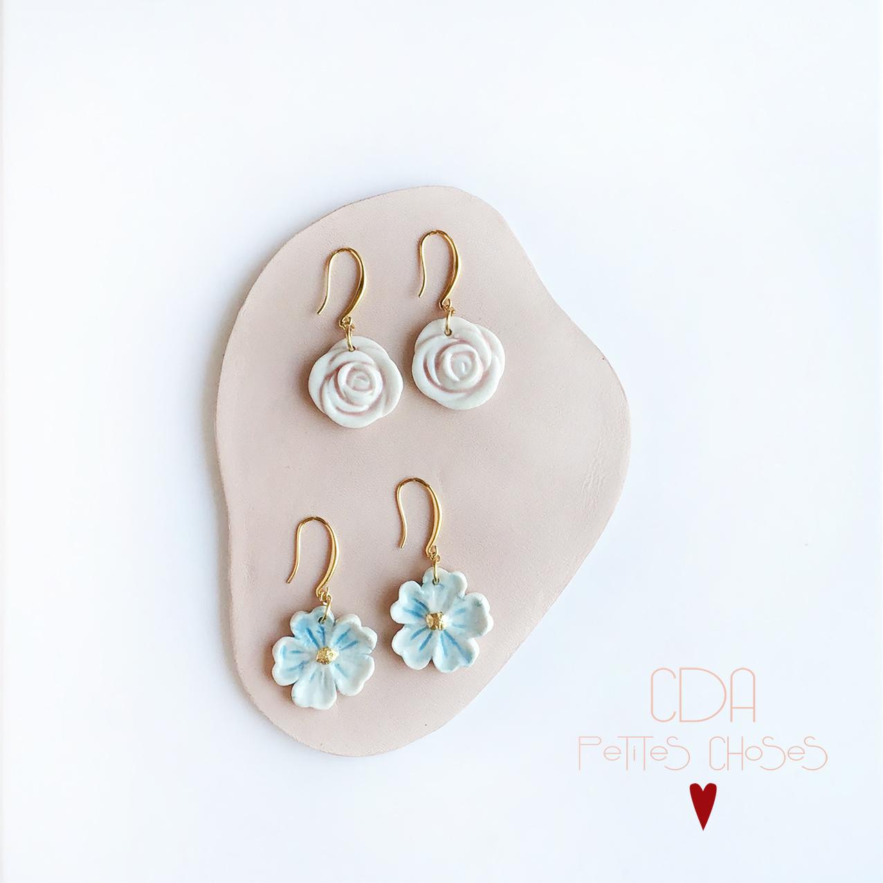 Boucles d'oreilles fleurs en porcelaine CDA Petites Choses