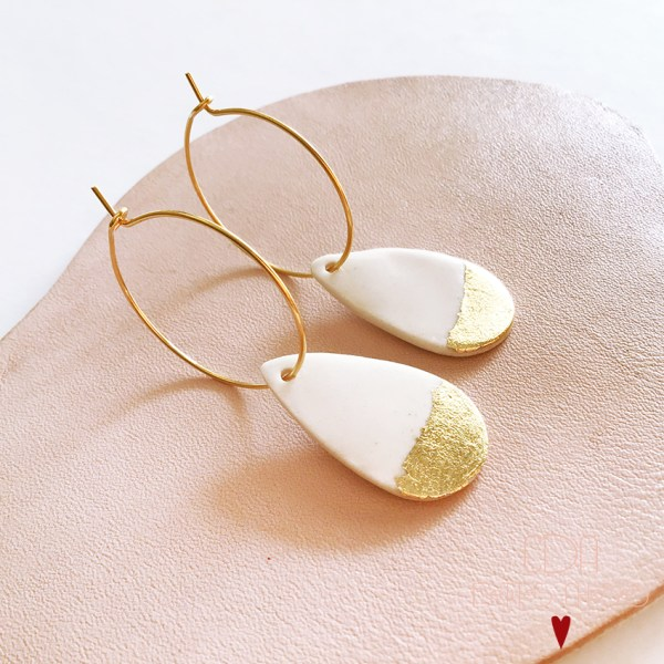 Boucles d'oreilles gouttes en porcelaine CDA Petites Choses