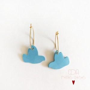 Boucles creoles oiseaux bleus en porcelaine CDA Petites Choses