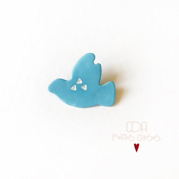 Broche en porcelaine bleue oiseau CDA Petites Choses