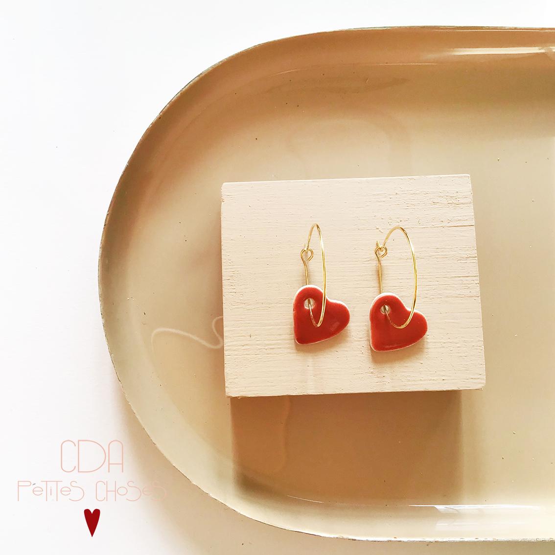 boucles-d'oreilles-creoles-coeur-rouge-CDA Petites Choses