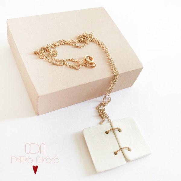 collier pendentif en porcelaine livre coeur CDA Petites Choses