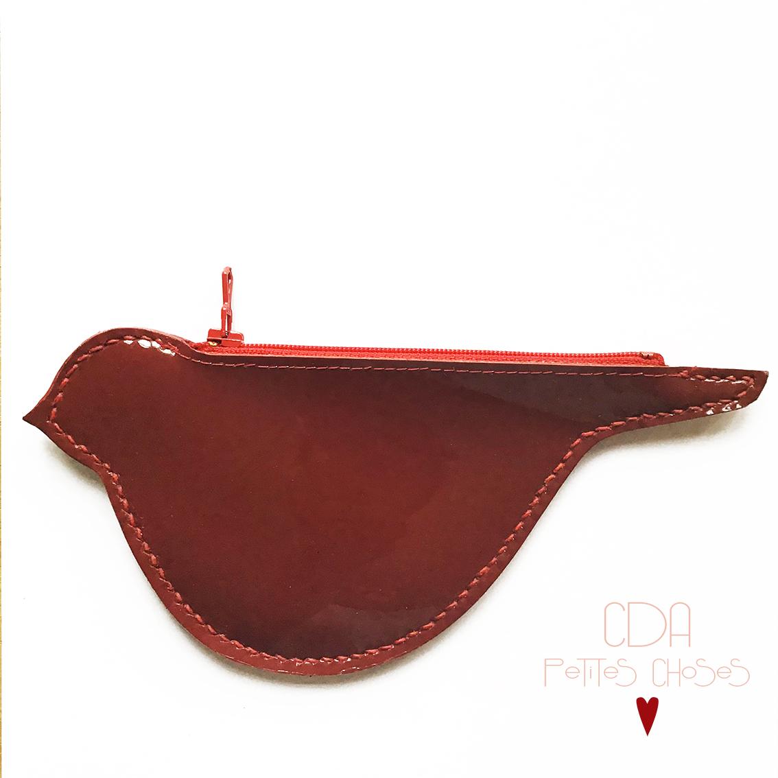 porte-monnaie-oiseau-vernis lisse rouge CDA Petites Choses