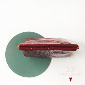 Porte monnaie clic clac new en cuir vernis fripe rouge CDA Petites Choses