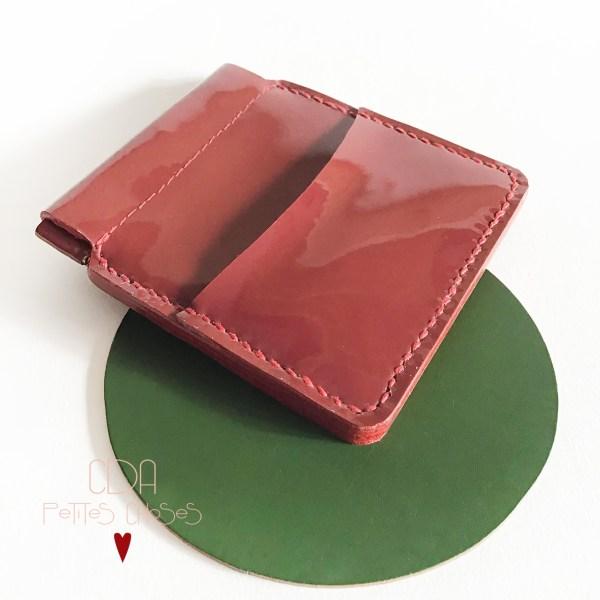 porte monnaie clicclac cuir vernis lisse rouge CDA Petites Choses