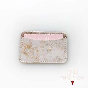 porte-carte-simple-en-cuir-blanc-et-or-1 CDA Petites Choses