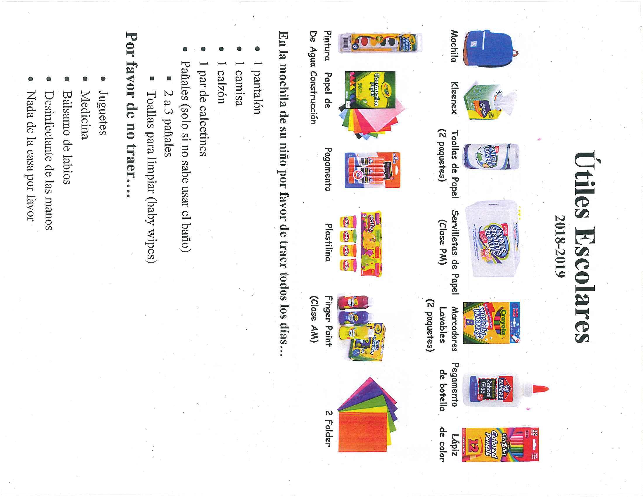 Preschool School Supplies