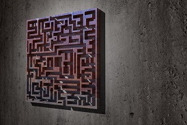 3d rendering of a maze on a dirty wall