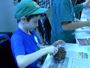 Nick Making Pine Cone Bird Feeder at 4-H, Laura, MG, Crazy Dave's Crew, Living With Myasthenia Gravis