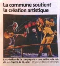 L'Opéra de la Lune - Publication dans Nice-Matin - Avril 2016