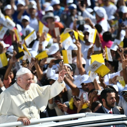 Pope Francis holds historic mass for Catholics in first papal visit to Gulf