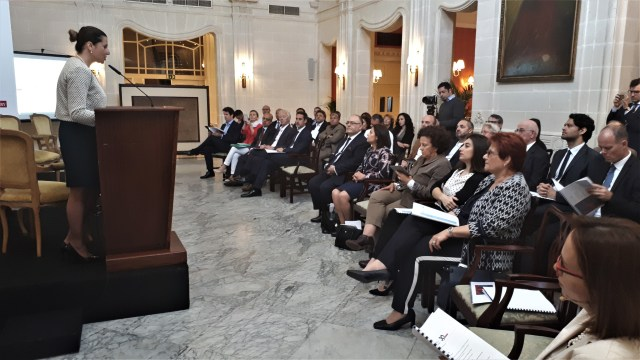 HE Helga Zammit, Ambassador for Malta in Paris Addressing the Conference organised by the Maltese French Chambe[528]