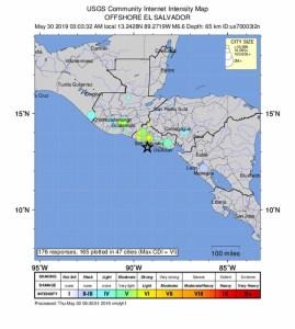 A magnitude 6.6 earthquake strikes off coast of El Salvador