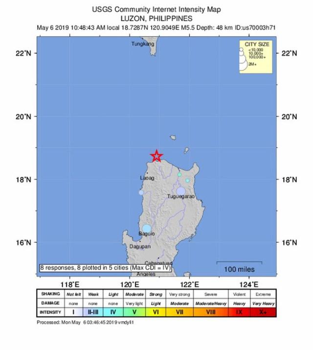 Magnitude 5.5 earthquake strikes near Santa Praxedes, Philippines