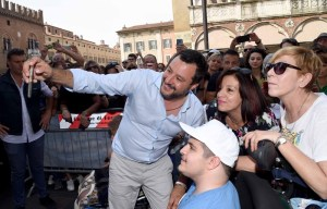 Salvini speaks at election campaign rally for Lega candidate Mayor Alan Fabbri in Ferrara