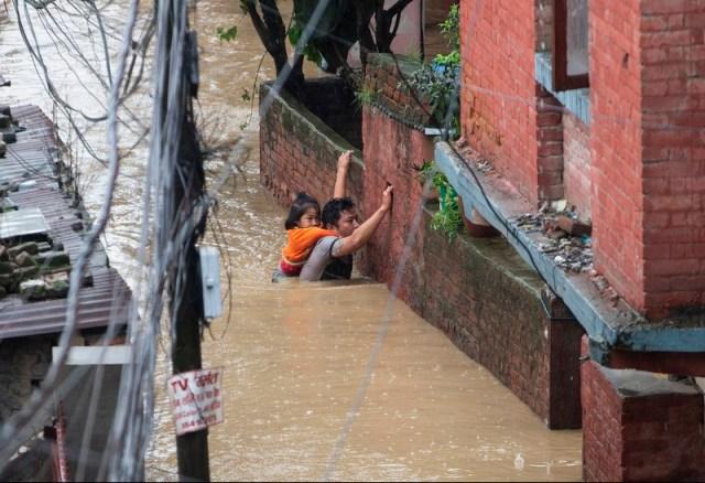 Flooded areas in Nepal following heavy monsoon rains