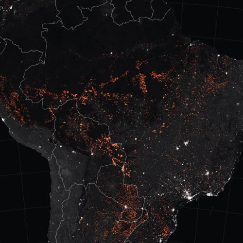 The fires in the Amazon rainforest from space