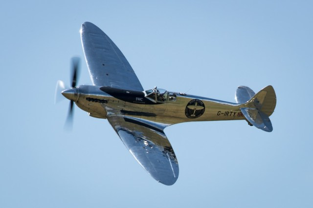 Silver Spitfire and prepares to leave Britain to fly around the world