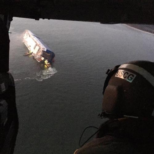 Cargo ship capsizes off the coast of Georgia in the US