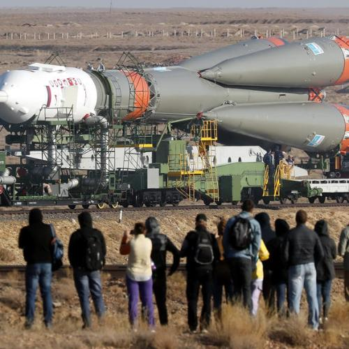 Installation of Soyuz rocket booster in Kazakhstan