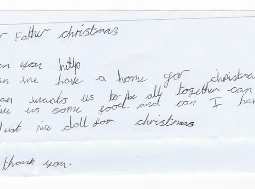 Seven-year-old girl asks Father Christmas for home and food for her family