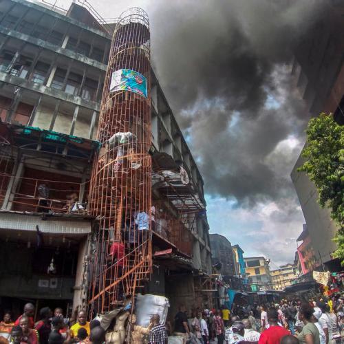 Fire engulfs market buildings in Nigeria's capital