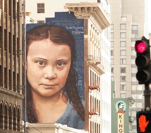 Massive portrait of Greta Thunberg unveiled in San Francisco