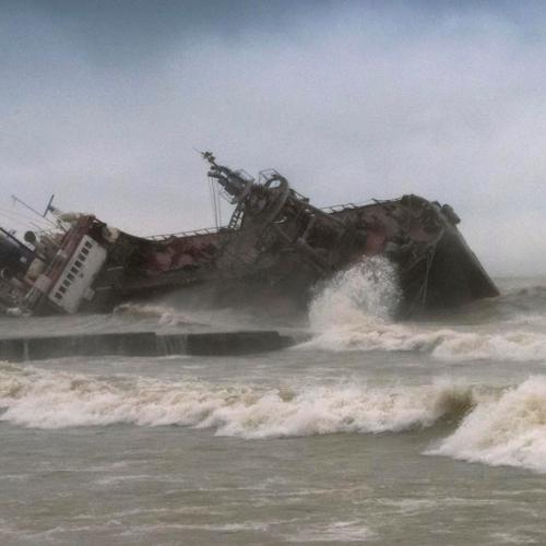 Tanker driven ashore during a heavy storm near Odessa, Ukraine