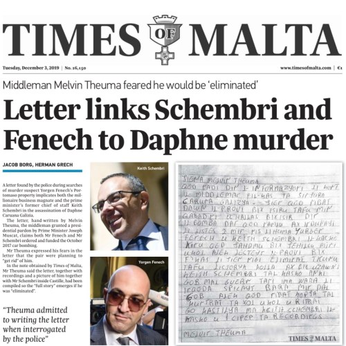 Letter implicating former OPM Chief of Staff in Caruana Galizia Assassination published – Times of Malta