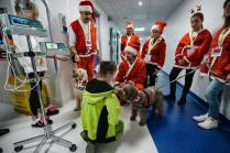 epa08036822 A moment of the gathering of people dressed as Santa Claus to greet the sick children at the Regina Margherita hospital in Turin, Italy, 01 December 2019. EPA-EFE/TINO ROMANO