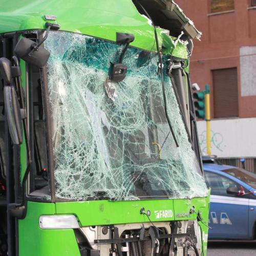 Photo Story: 12 people injured in Milan after truck and bus collision