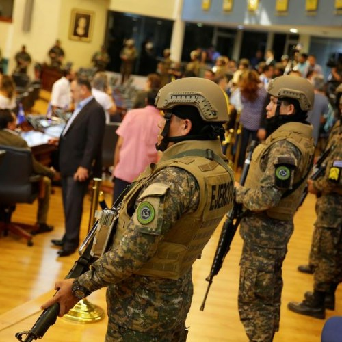 Heavily armed police and soldiers enter El Salvador parliament
