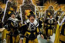 epa08237232 Members of the Grupo Especial Dragões da Real samba school take part in the traditional carnival parade at Ahembi sambadrome in Sao Paulo, Brazil, 22 February 2020. EPA-EFE/Sebastiao Moreira