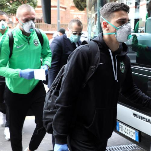 Ludogorets Razgard players arrive in Milan for their Europa League match against Inter