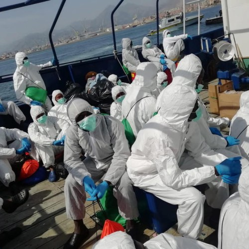 Migrants from Spanish vessel 'Aita Mari' transferred to Italian ferry off Palermo