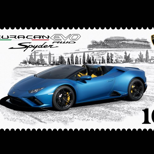 Lamborghini launches its first collector's digital stamp dedicated to the Huracán EVO RWD Spyder