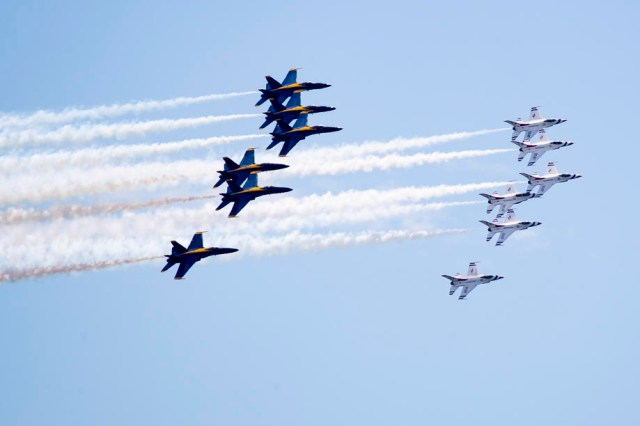 US Navy Blue Angels and US Air Force Thunderbirds flyover in Washington, DC