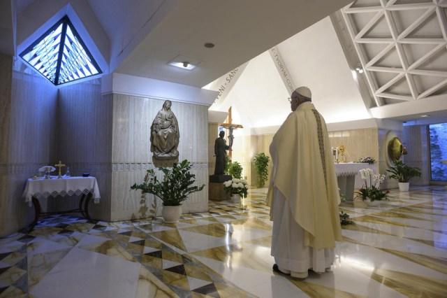 Pope Francis eading a Mass at Santa Marta, Vatican City
