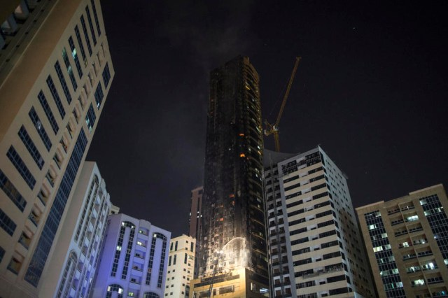 Fire at a high-rise in Sharjah