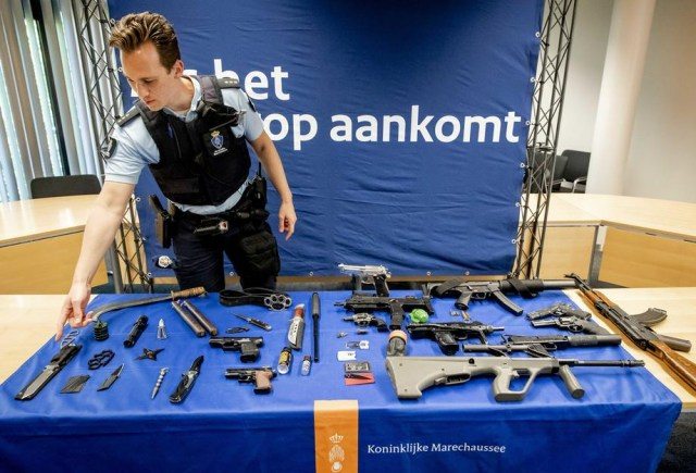 Confiscated weapons at Dutch airports