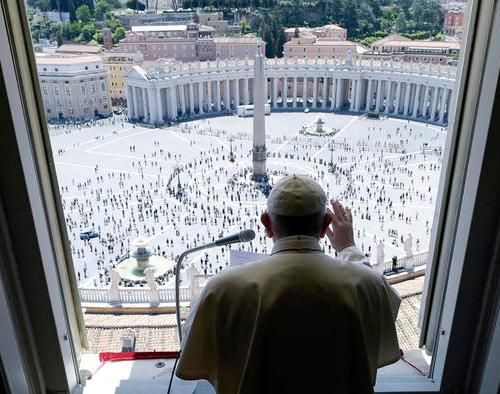 Pope Francis leads the Regina Coeli prayer, says people more important than the economy