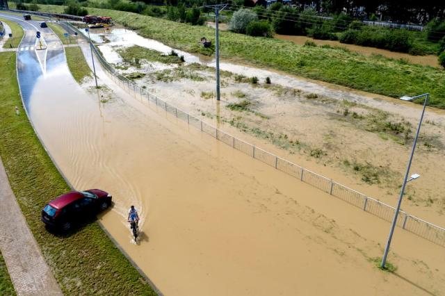 Floods in southeastern Poland sparked by heavy rainfall during storm