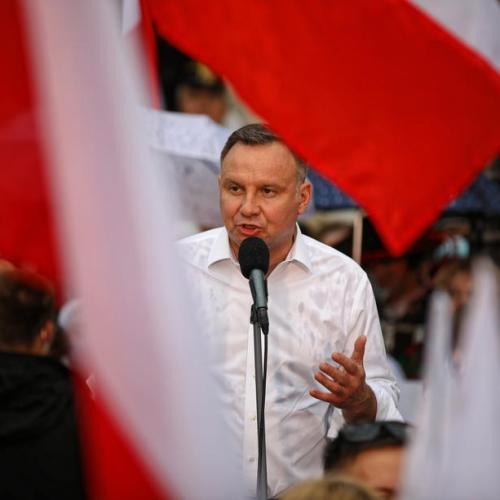 Polish election exit poll projects narrow victory for incumbent Andrzej Duda