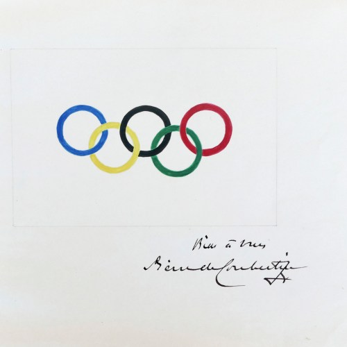 Original drawing of the Olympic rings sketched by Baron Pierre de Coubertin is set to go up for auction